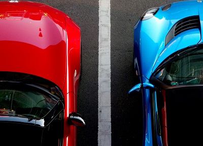 Two parked cars